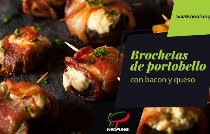 Brochetas de bacon, queso y champiñón