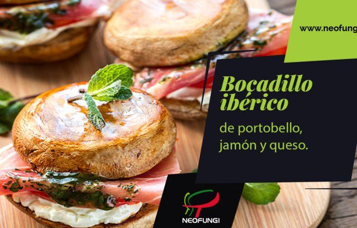 bocadillo ibérico de portobello, jamón y queso de Neofungi