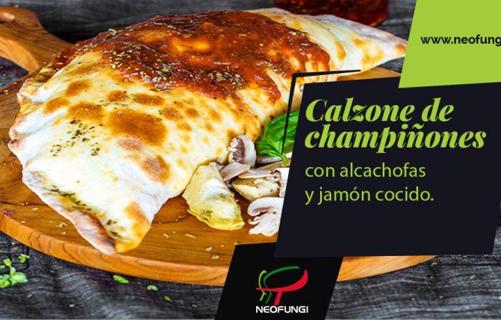 calzone de champiñones con alcachofas y jamón cocido de Neofungi